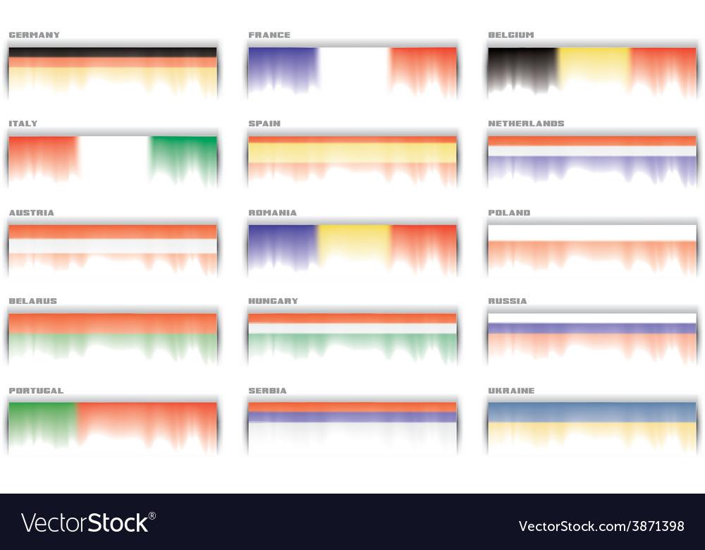 European flags banner header set vector | Price: 1 Credit (USD $1)