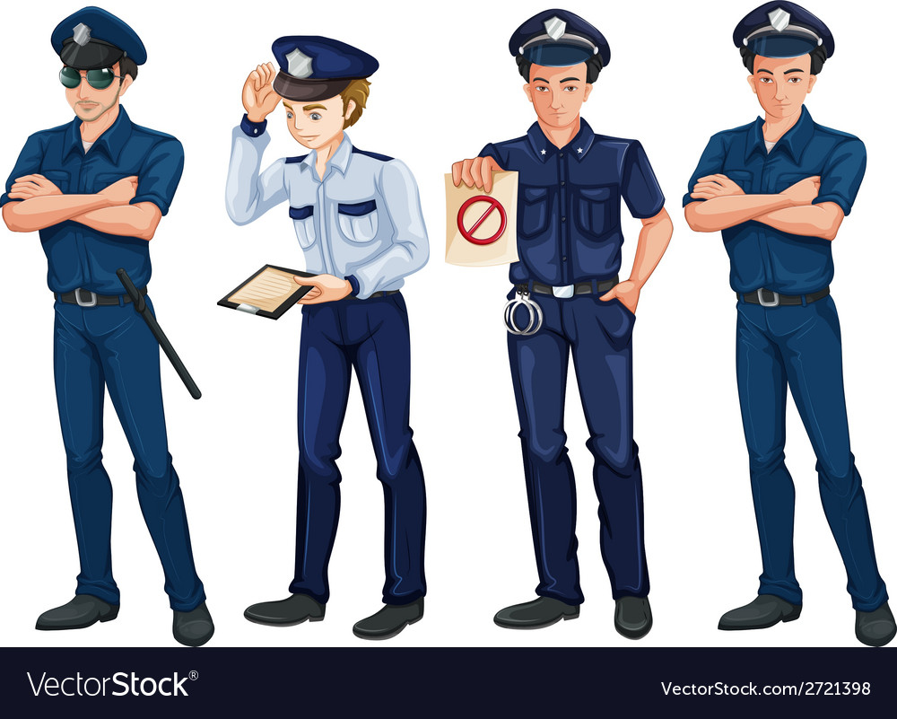 Four policemen vector | Price: 1 Credit (USD $1)