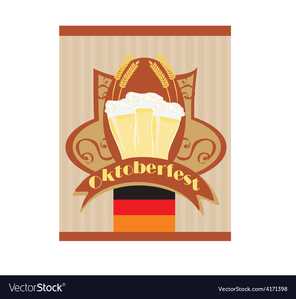 Oktoberfest card with beer vector | Price: 1 Credit (USD $1)