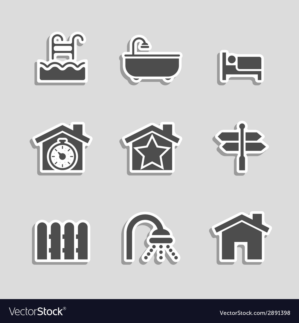 Real estate icons set as labels vector | Price: 1 Credit (USD $1)