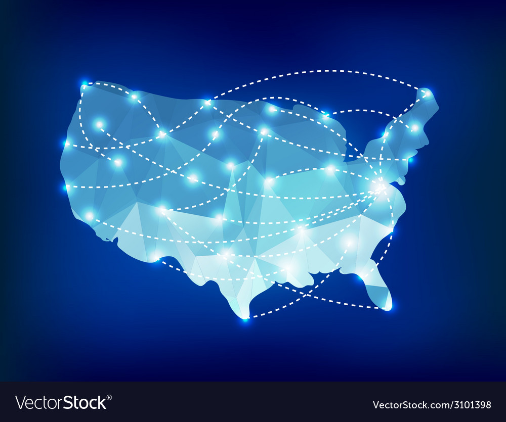Usa country map polygonal with spot lights places vector | Price: 1 Credit (USD $1)