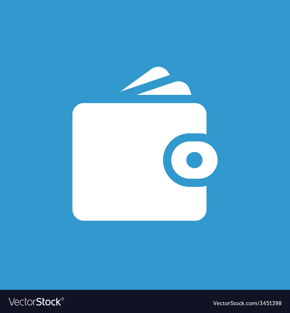 Wallet icon white on the blue background vector | Price: 1 Credit (USD $1)