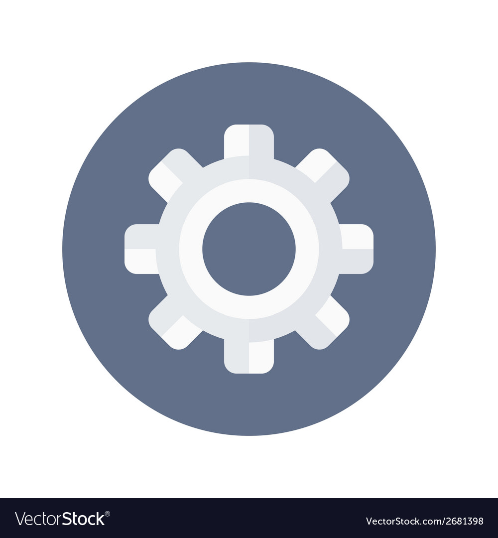 White gear wheel icon over blue vector | Price: 1 Credit (USD $1)