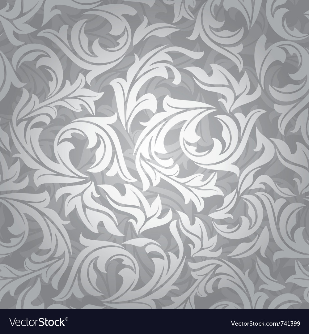 Abstract seamless silver floral background vector | Price: 1 Credit (USD $1)
