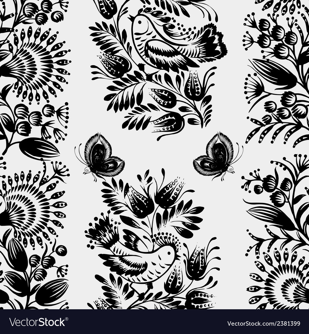 Black and white seamless floral pattern vector | Price: 1 Credit (USD $1)