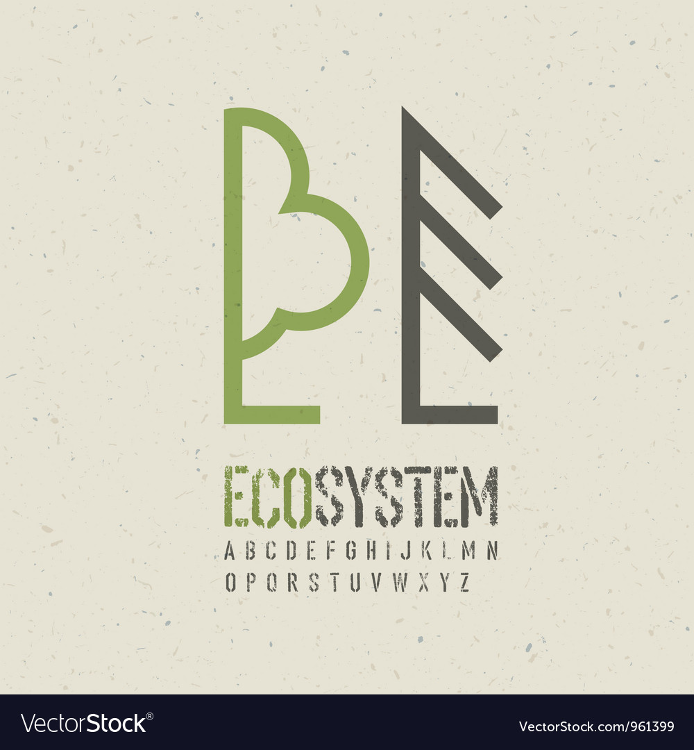 Ecological emblem template vector | Price: 1 Credit (USD $1)