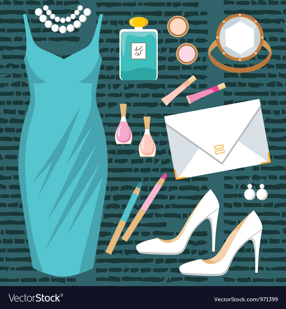Fashion set with a cocktail dress vector | Price: 1 Credit (USD $1)
