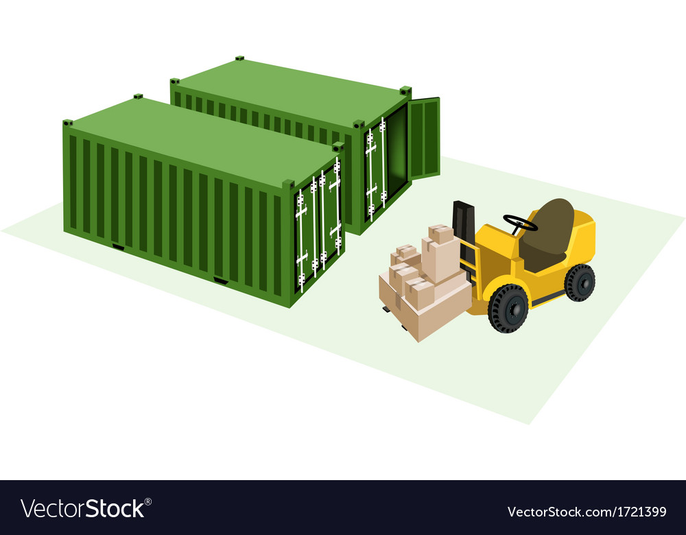 Forklift loading shipping boxes into container vector | Price: 1 Credit (USD $1)