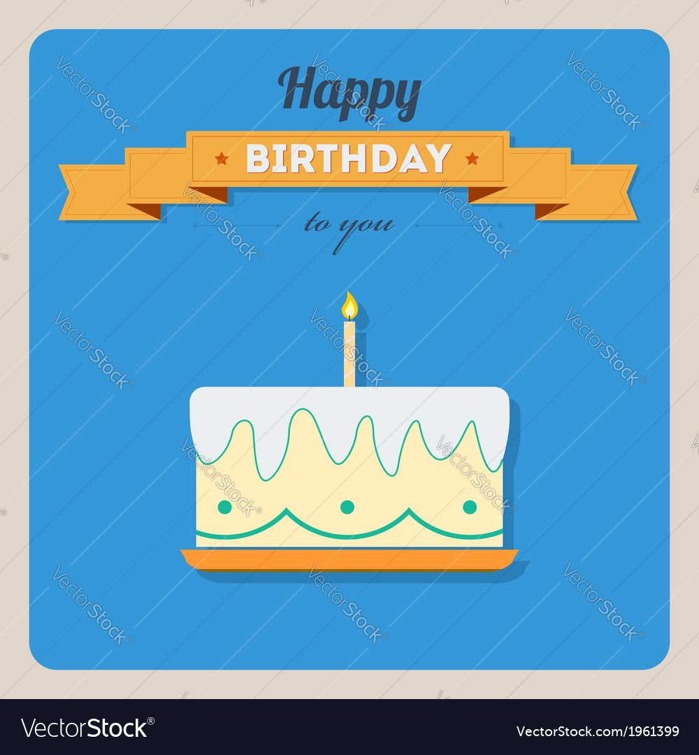 Happy birthday card with a cake and candles vector | Price: 1 Credit (USD $1)