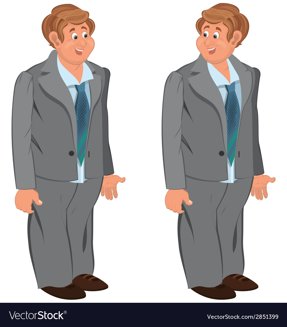 Happy cartoon man standing in gray suit and green vector | Price: 1 Credit (USD $1)