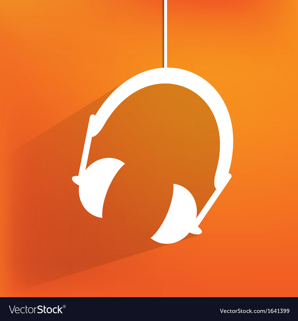 Headphones web icon flat design vector | Price: 1 Credit (USD $1)