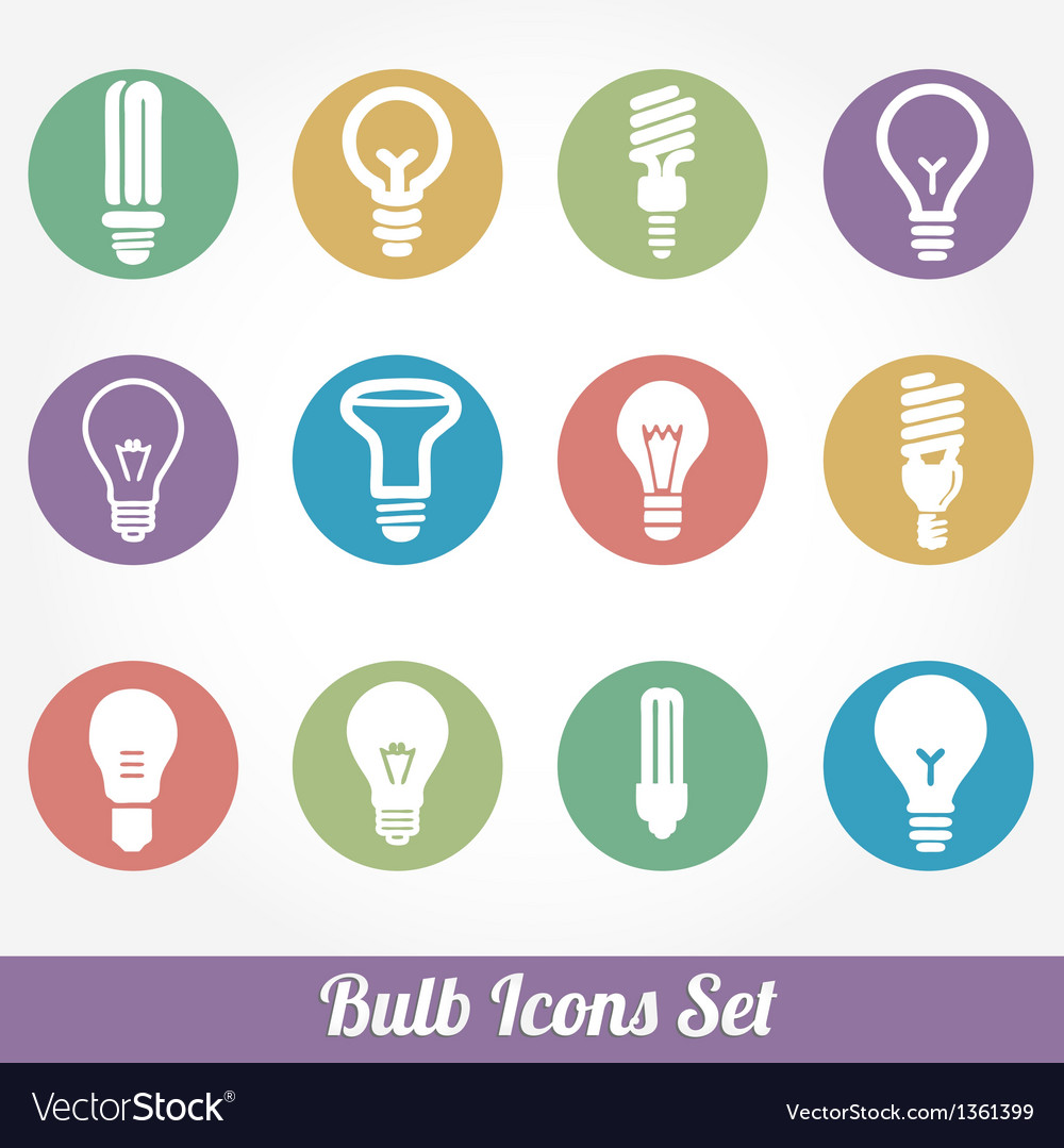 Light bulbs bulb icon set vector | Price: 3 Credit (USD $3)