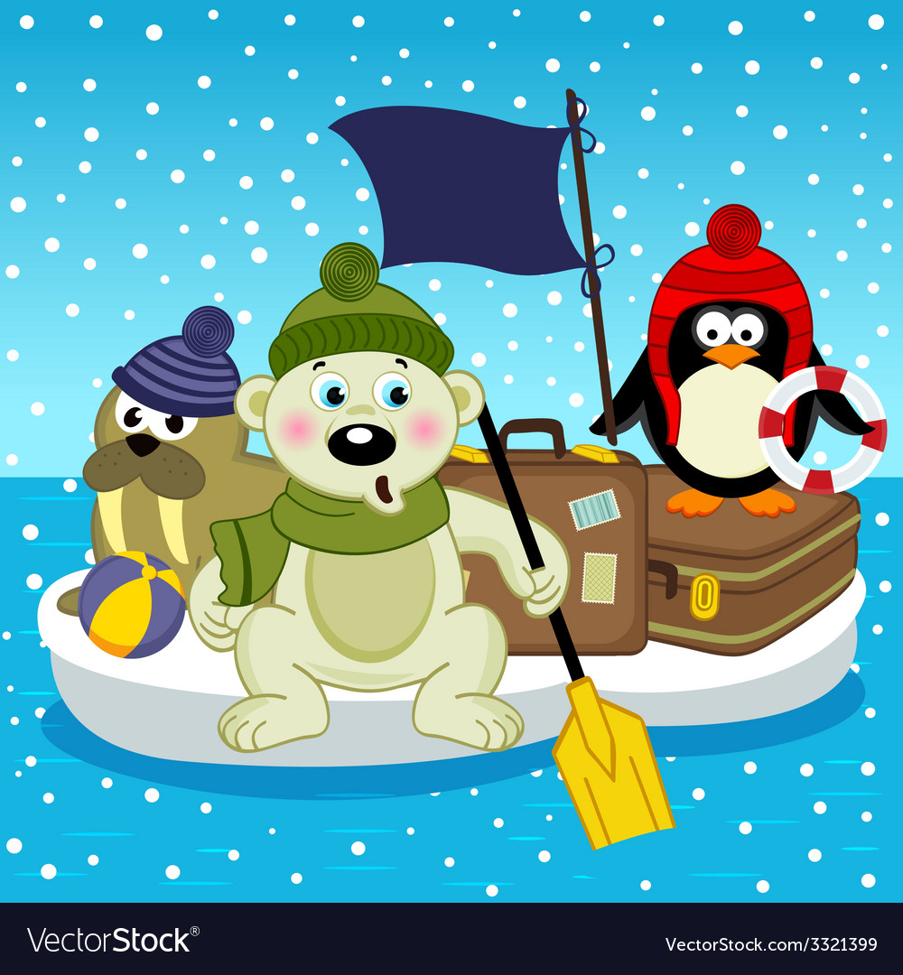 Polar bear walrus penguin travel on floe vector | Price: 1 Credit (USD $1)