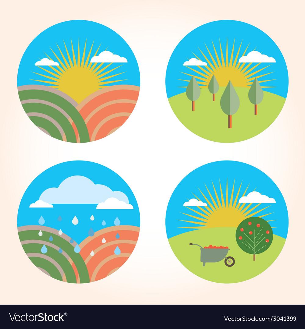 Set scenes farm garden vector | Price: 1 Credit (USD $1)