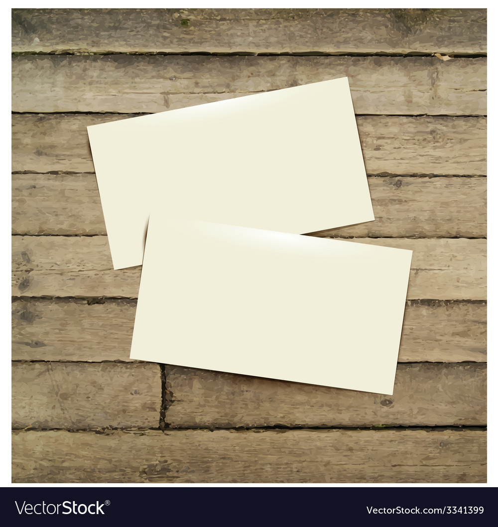 Template white business card on the wooden table vector | Price: 1 Credit (USD $1)