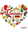 German symbols in heart shape concept vector