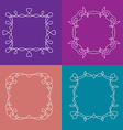 Set of outline frames with floral and love vector