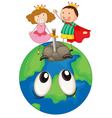 Kids on earth planet vector