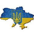 Ukraine coat of arms with flag inside vector