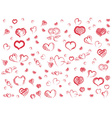 Doodle red hearts seamless pattern background vector