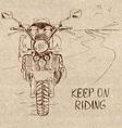 Retro sketch with motorbike vector