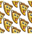 Seamless pattern of cheesy salami cartoon pizza vector
