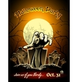 Halloween party invitation with zombie graphic vector