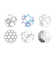 Molecule icons in spheres vector