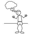 Stick figure thinking vector