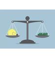 Lightbulb ideas and money balance on the scale vector