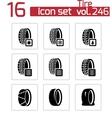Black tire icon set vector