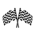 Two crossed black and white checkered flags vector