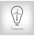 Bulb with wind turbine as eco energy symbol vector