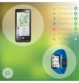 Smartphone and smart fitness watch vector