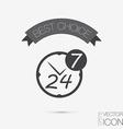 Character 24 7 symbol icon clock service vector