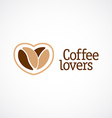 Coffe love logo template two beans with heart vector