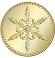 Gold coin snowflake vector