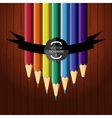 Colorful seven pencils on the wooden background vector