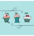 Isolated set of cupcake vector
