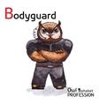 Alphabet professions owl letter b - bodyguard vector