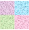 Christmas hand drawn seamless patterns vector