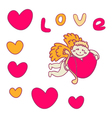 Cupid for valentines day with hearts vector