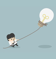 Businessman pulling bulb with rope vector