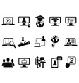 Online class icons set vector