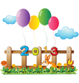 Four colorful balloons near the wooden fence with vector