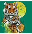 Tiger family in jungle vector