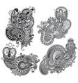 Grey original hand draw line art ornate flower vector