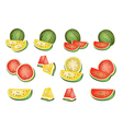 Set of delicious fresh red and yellow watermelons vector