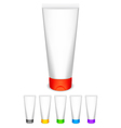 Cream tubes with color caps vector