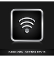 Wifi icon silver metal vector